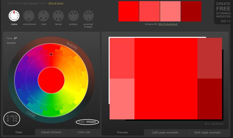 Créer des harmonies de couleurs avec Color Scheme Designer  Arrivy10