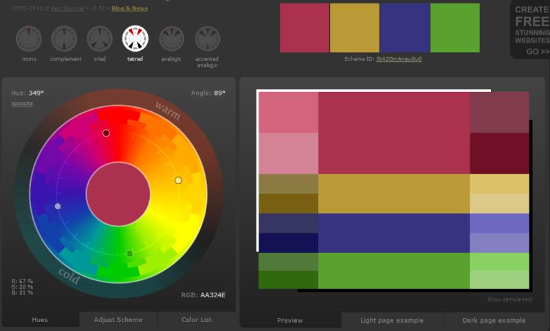 Créer des harmonies de couleurs avec Color Scheme Designer  Carry10