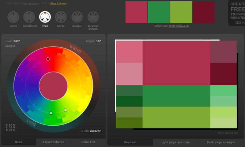 Créer des harmonies de couleurs avec Color Scheme Designer  Coueur10