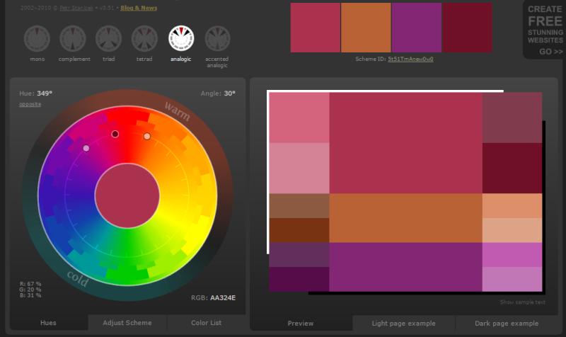 Créer des harmonies de couleurs avec Color Scheme Designer  Mode_a10