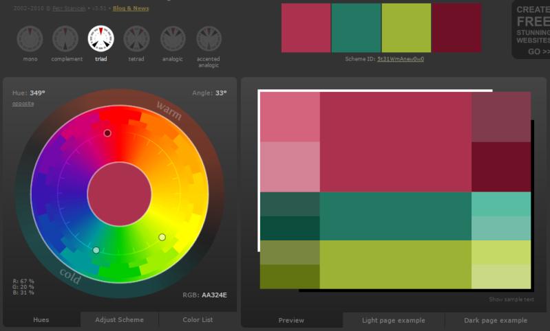 Créer des harmonies de couleurs avec Color Scheme Designer  Mode_t10