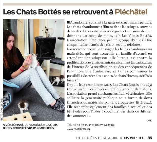"""L'Association Chats Bottés dans le """"Nous Vous Ille"""" Articl11"""