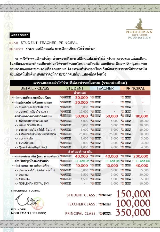 ประกาศการเปลี่ยนแปลงค่าใช้จ่ายและเพิ่มอัตราเงินเดือน Noblem19
