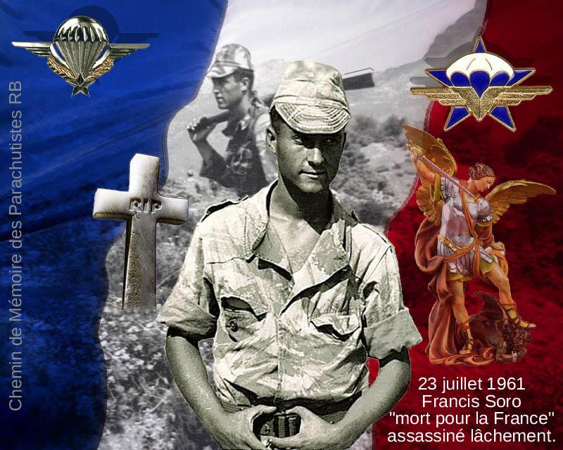 SORO Francis Chasseur Parachutiste 1er RCP assassiné par le FLN 23 juillet 1961 - Page 5 9_plaq10