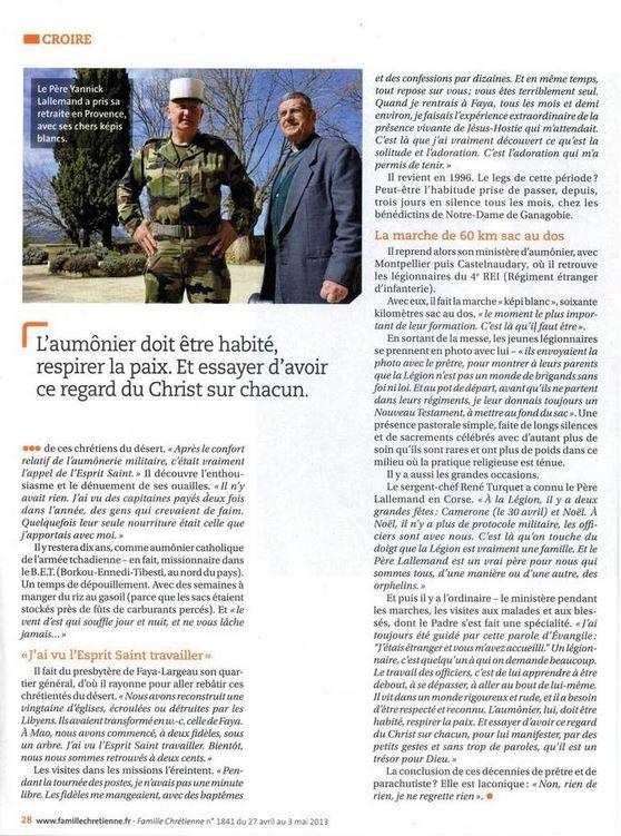 Pâques 2012 : Padre Yannick Lallemand, une promotion méritée dans l'Ordre de la Légion d'honneur Lallem12