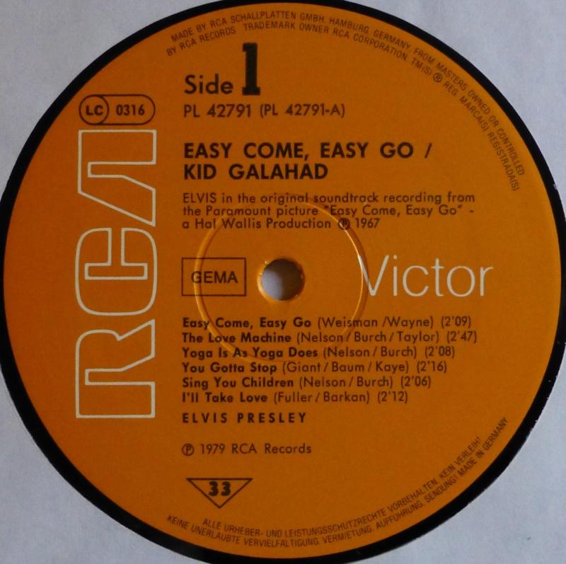 ORIGINAL SOUNDTRACKS: EASY COME EASY GO / KID GALAHAD 1c11