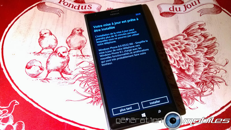 [Windows Phone 8.1 Cyan] en cours sur le 1520 Lumia110