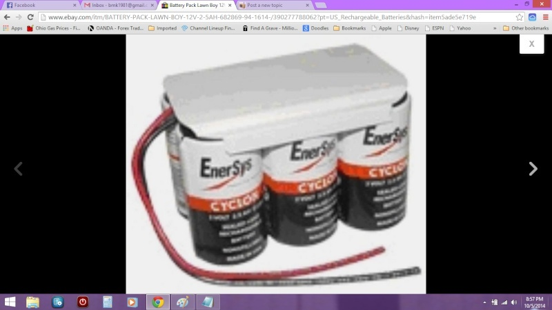 Electric start LawnBoy Push mower battery Mowerb11