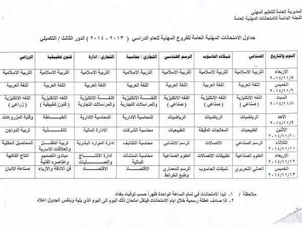 جدول الدور الثالث للدراسة الأعدادية - الفرع المهني 2014 Dz10