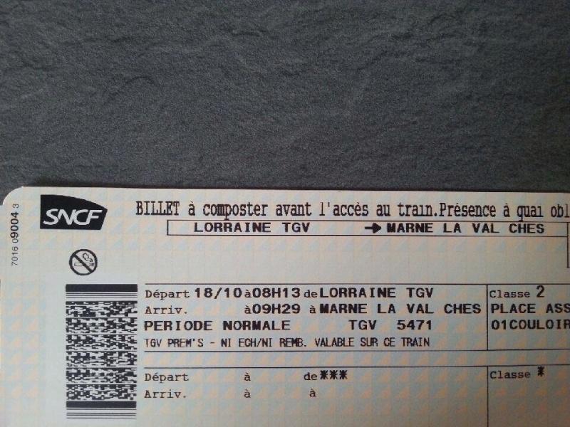 A vendre : Billet Lorraine TGV-Marne La Vallée Disney Halloween 10704910