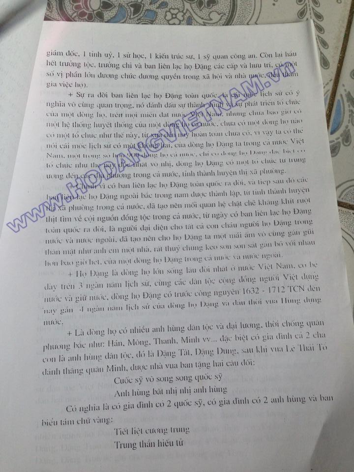 Tóm tắt sơ lược lịch sử và đặc điểm dòng họ Đặng Việt Nam (báo cáo năm 2007) của Ban liên lạc họ Đặng tỉnh Thanh Hoá, Huyện Cẩm Thuỷ) 210