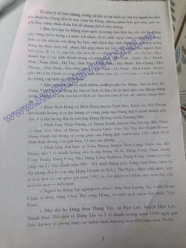 Tóm tắt sơ lược lịch sử và đặc điểm dòng họ Đặng Việt Nam (báo cáo năm 2007) của Ban liên lạc họ Đặng tỉnh Thanh Hoá, Huyện Cẩm Thuỷ) 510
