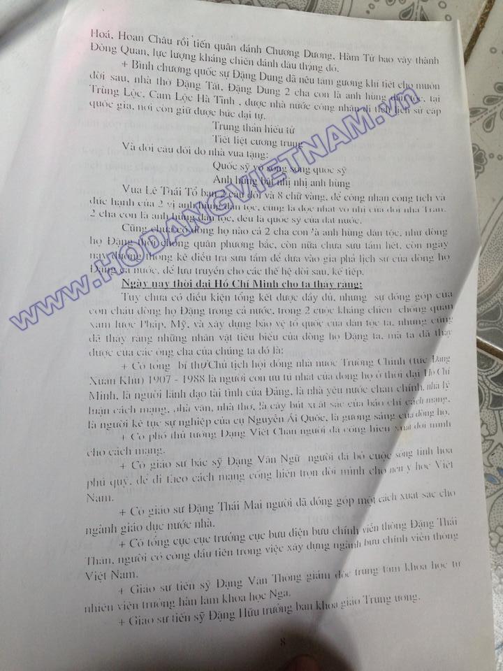 Tóm tắt sơ lược lịch sử và đặc điểm dòng họ Đặng Việt Nam (báo cáo năm 2007) của Ban liên lạc họ Đặng tỉnh Thanh Hoá, Huyện Cẩm Thuỷ) 810