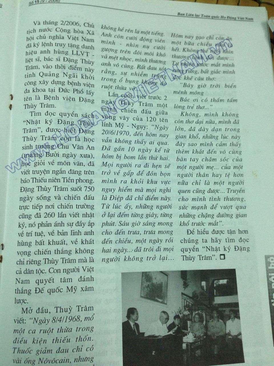 Thế kỉ 20, người con gái họ Đặng - Bác sĩ Đặng Thùy Trâm B10