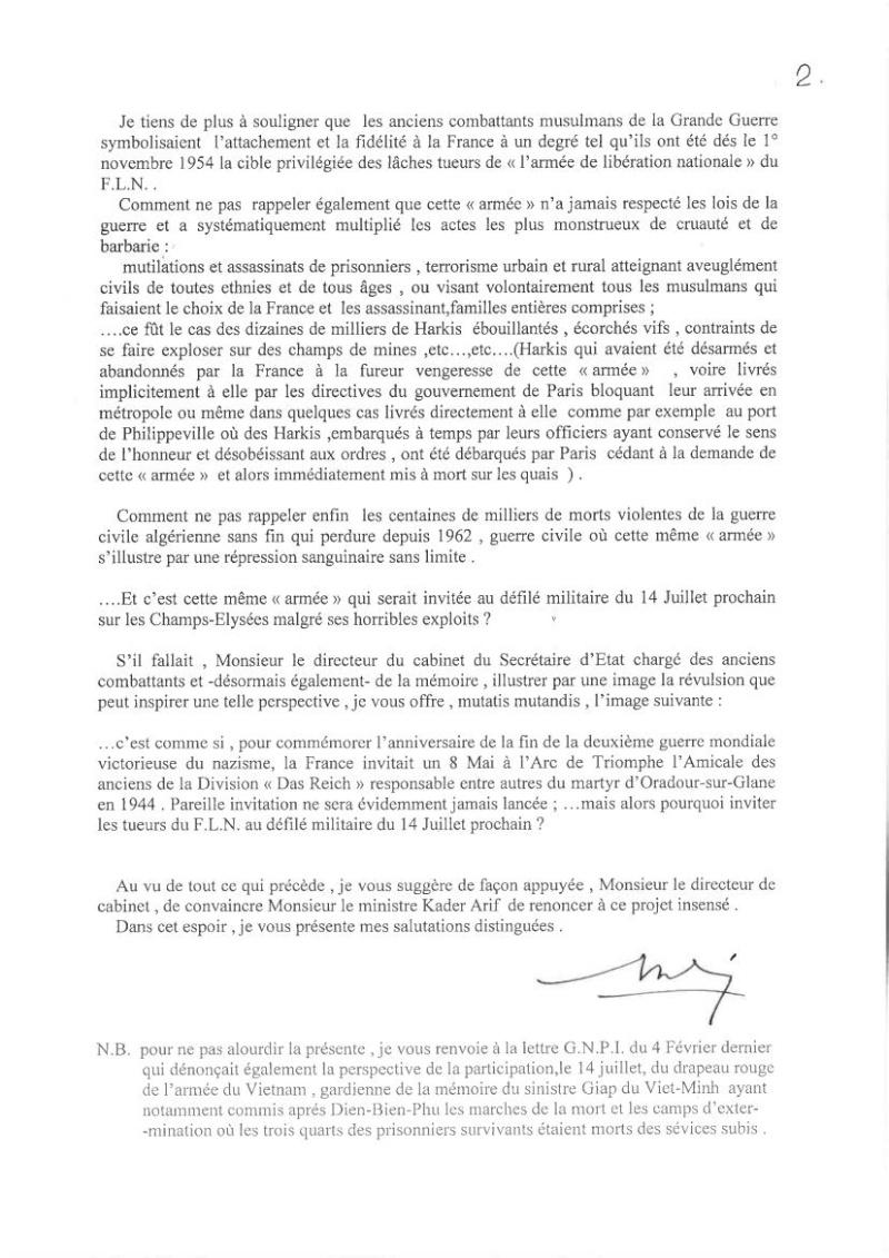 DEFILE du FLN aux Champs-ELYSEES en juillet 2014: UNE INSULTE AUX MILLIERS DE HARKIS ET LEURS FAMILLES, PIEDS NOIRS,  MILITAIRES FRANCAIS MORTS EN ALGERIE.   Dbp_de10
