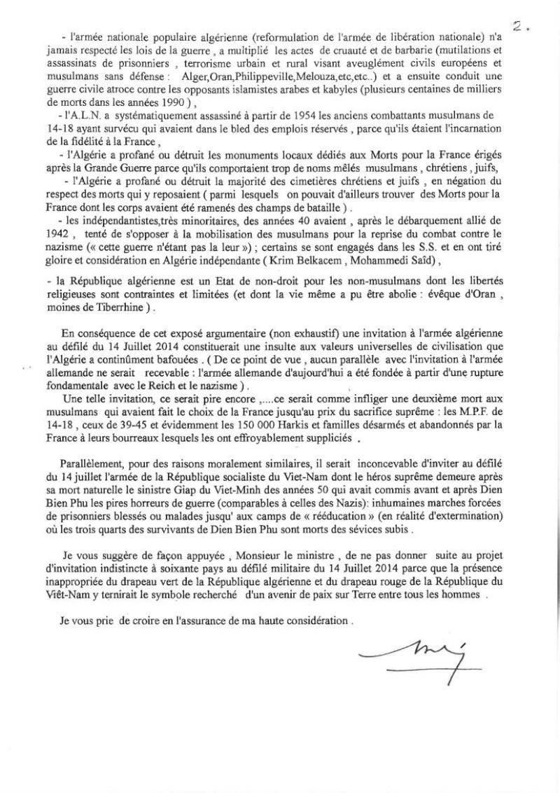 DEFILE du FLN aux Champs-ELYSEES en juillet 2014: UNE INSULTE AUX MILLIERS DE HARKIS ET LEURS FAMILLES, PIEDS NOIRS,  MILITAIRES FRANCAIS MORTS EN ALGERIE.   Dbp_de13