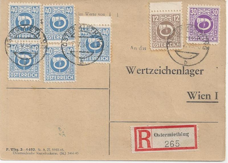 Posthornzeichnung  -  ANK 697-713  -  Belege Bild124
