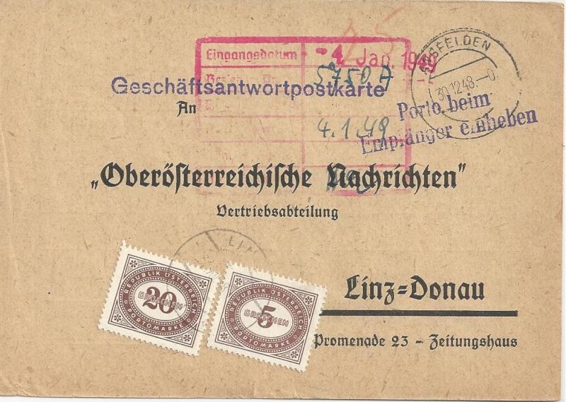 Verwendung von Portomarken in Österreich Bild67