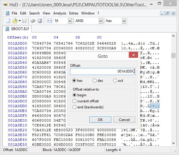 [PS3] Explications pour trouver soi-même ses codes EBOOT (PPC/ASM) Hxd110