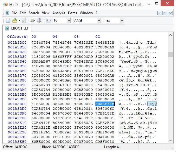 [PS3] Explications pour trouver soi-même ses codes EBOOT (PPC/ASM) Hxd210
