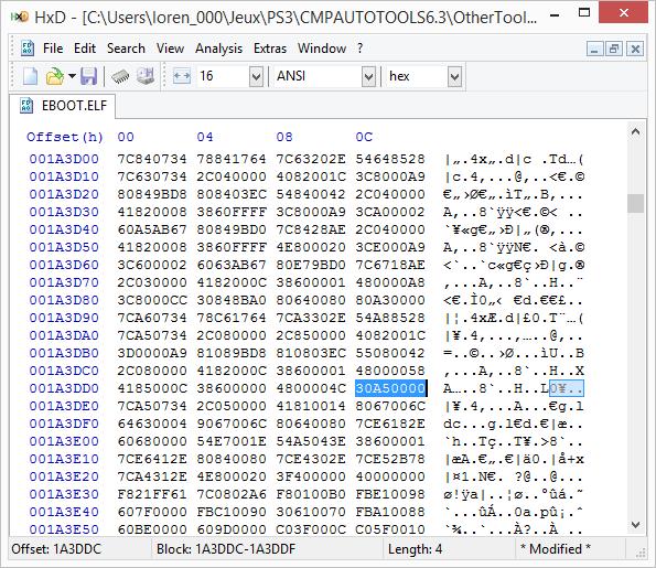 [PS3] Explications pour trouver soi-même ses codes EBOOT (PPC/ASM) Hxd310