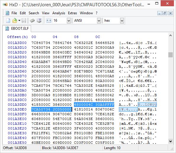 [PS3] Explications pour trouver soi-même ses codes EBOOT (PPC/ASM) Hxd410