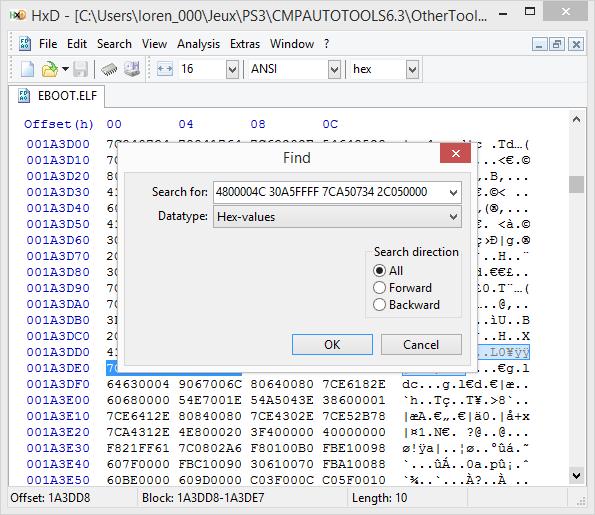 [PS3] Explications pour trouver soi-même ses codes EBOOT (PPC/ASM) Hxd510