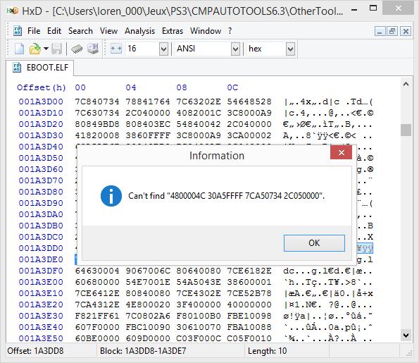[PS3] Explications pour trouver soi-même ses codes EBOOT (PPC/ASM) Hxd610