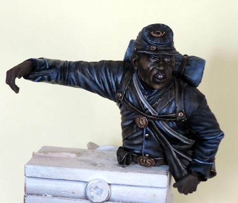 Private du 54th Massachusetts guerre de Sécession visage et casquette terminé par G.G Dscn0957