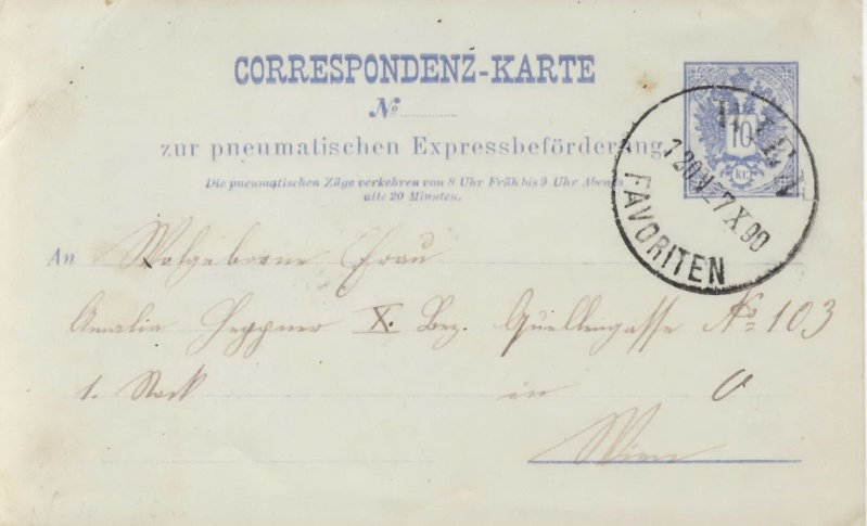 Rohrpoststempel WIEN - FAVORITEN Rp11_110