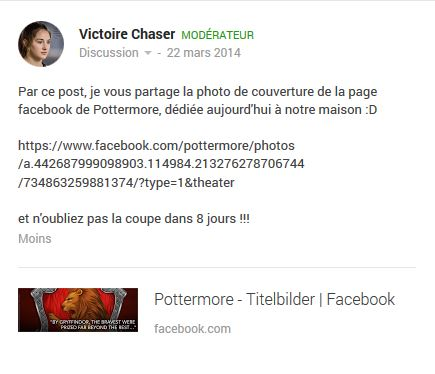 Pottermore sur Facebook Face10