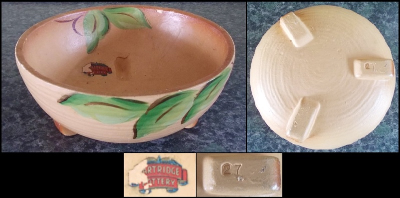 Partridge Pottery label and vase NR.27. Dscn3614