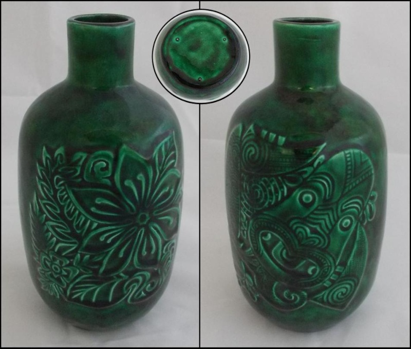 Who made this green embossed vase.  It is a Crown Lynn design, not sure who glazed it though. Dscn4013