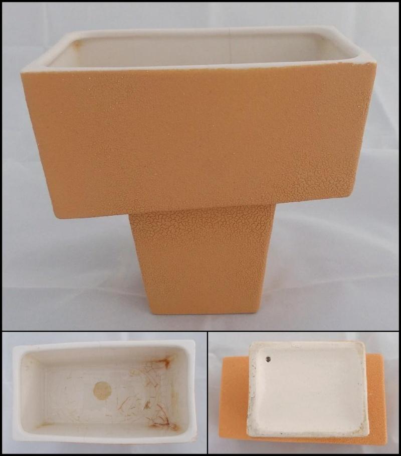 Titian Presley Ware White Crackle Glaze Planter, Black B206,Two Brown Vases  Dscn4310