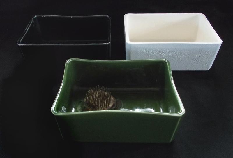 Titian Black, Green and Crackle Glaze white square bowls Dscn6921