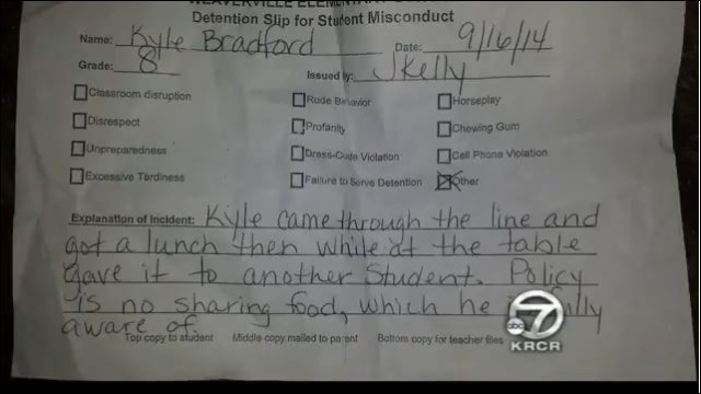 California Stupidity - 13 YO Boy detention for sharing lunch Deded10