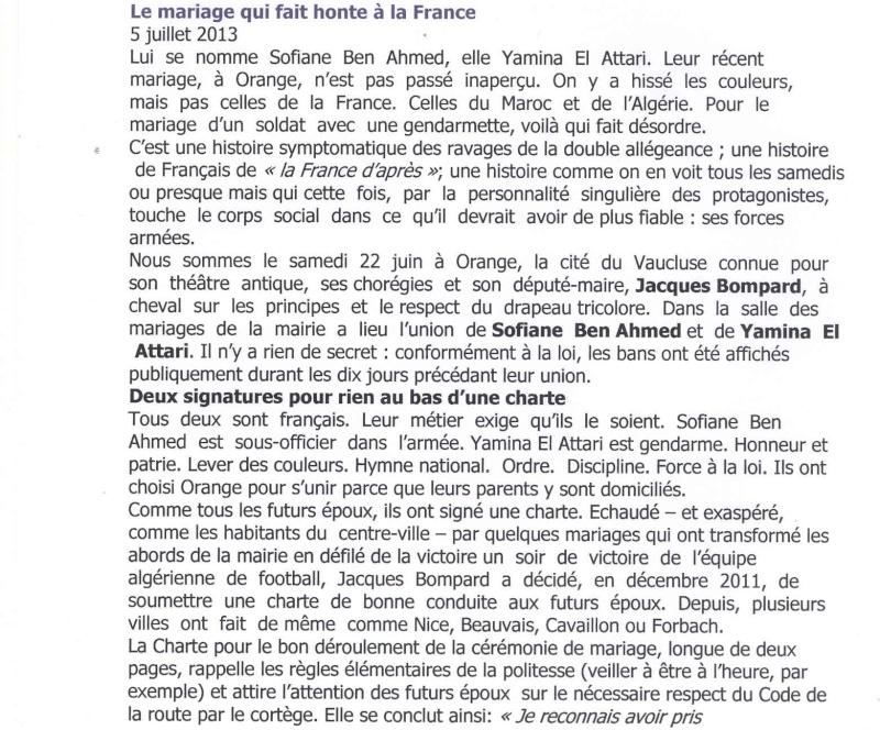 Revue de presse du 8 juillet 2013:Le mariage qui fait honte à la FRANCE Lettre12
