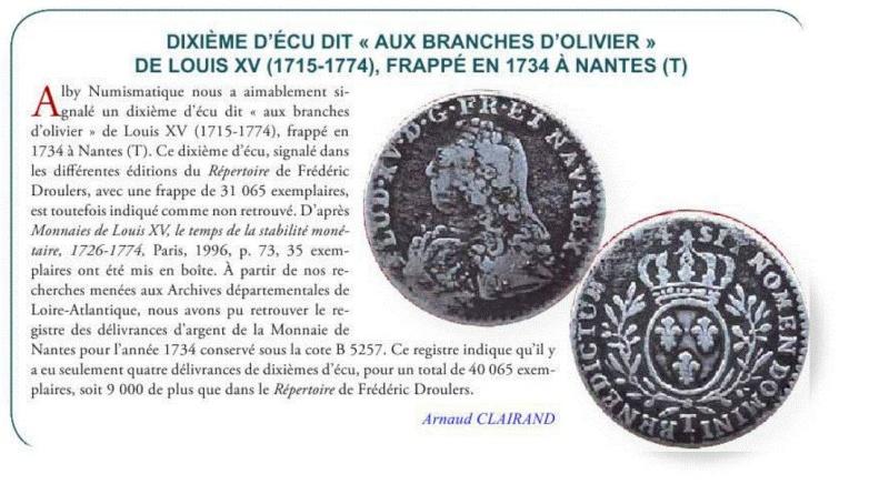 """Louis XV : 1/10 Écu """" aux branches d'oliviers """" 1734 Nantes 19743510"""