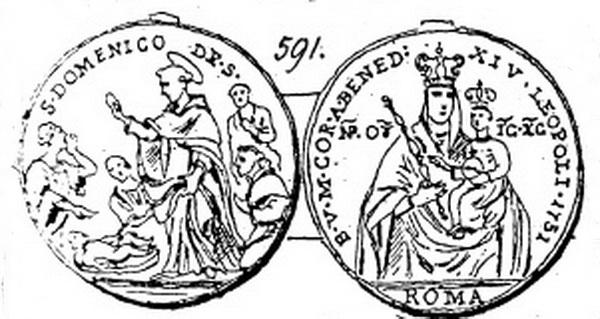 Recopilación medallas de Santo Domingo de Guzmán. Notas iconográficas. 59110