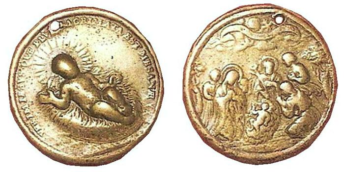 ICONOGRAFIA de la NATIVIDAD en las medallas devocionales Fsv56810