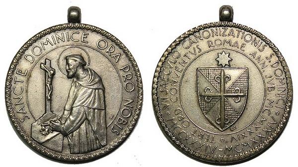 Recopilación medallas de Santo Domingo de Guzmán. Notas iconográficas. Pescud34