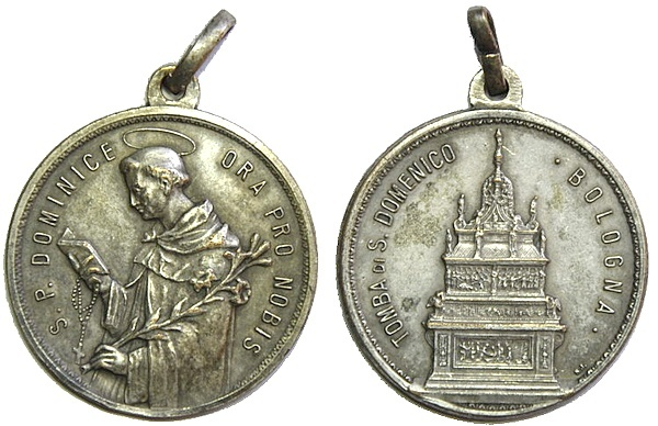 Sto. Domingo de Guzmán / Entrega del Rosario a Santo Domingo y Santa Catalina de Siena. S.XX Pescud51