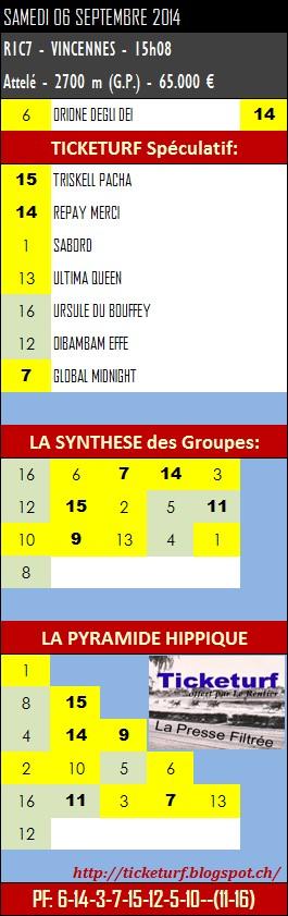 SAMEDI 06 SEPTEMBRE 2014 > Quinté et autres réunions / courses hippiques Ticket41