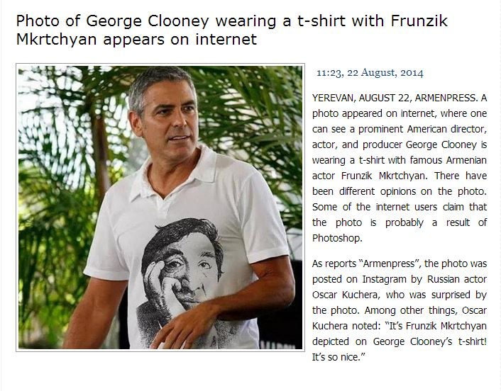 George Clooney wearing an anti Putin T-shirt - Photoshop propaganda Art10