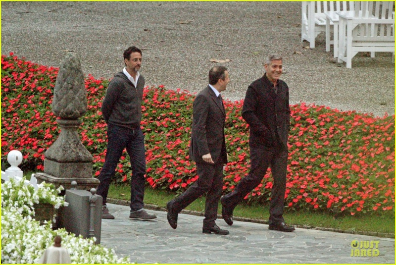 George Clooney and Grant Heslov at Villa D'Este yesterday in Como Ass1010