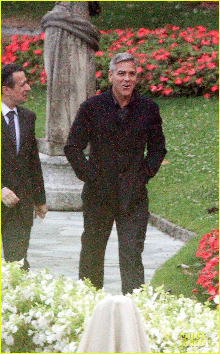 George Clooney and Grant Heslov at Villa D'Este yesterday in Como Ass1310