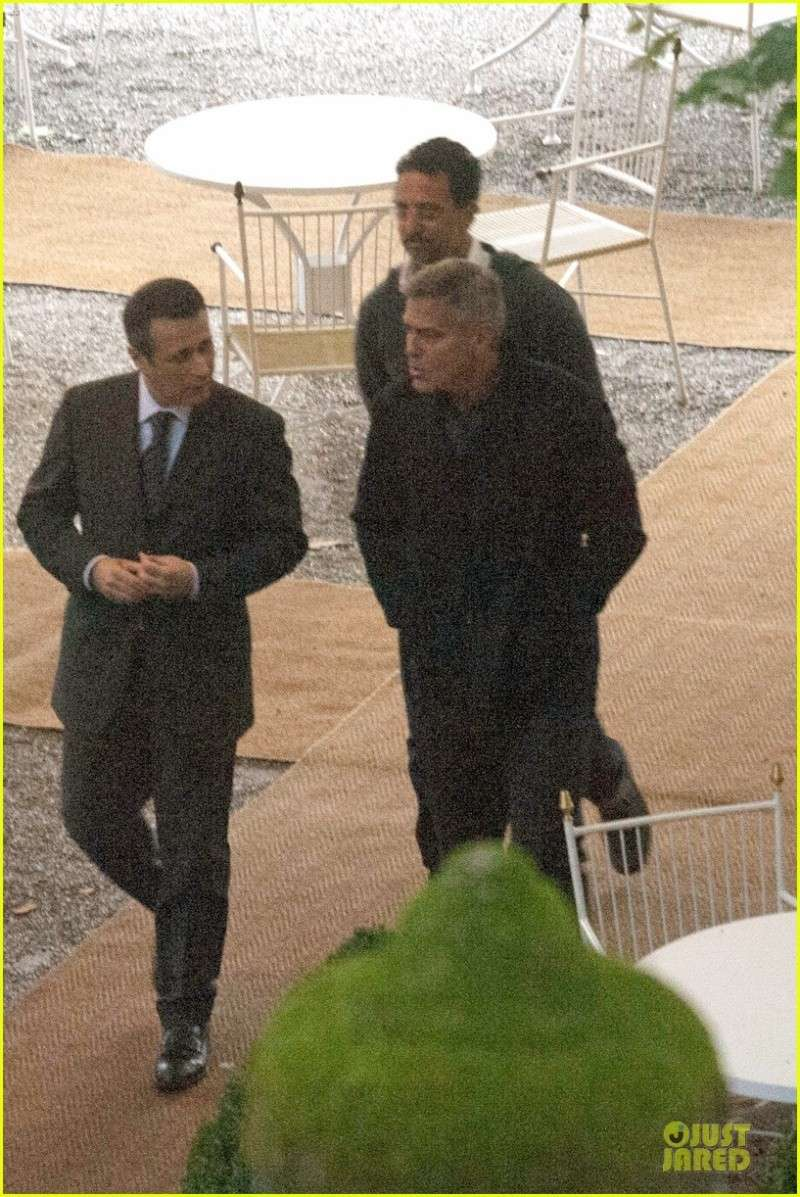 George Clooney and Grant Heslov at Villa D'Este yesterday in Como Ass1410