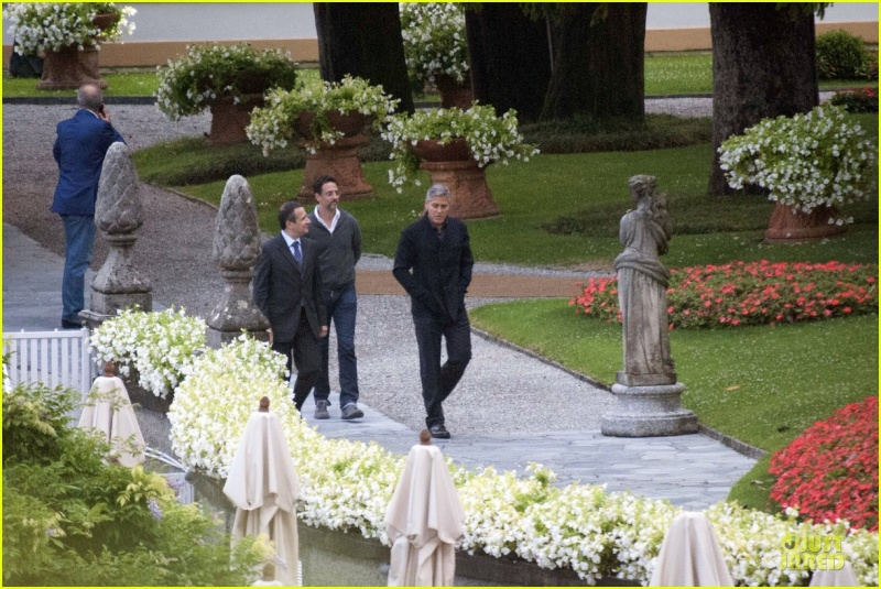 George Clooney and Grant Heslov at Villa D'Este yesterday in Como Ass1510