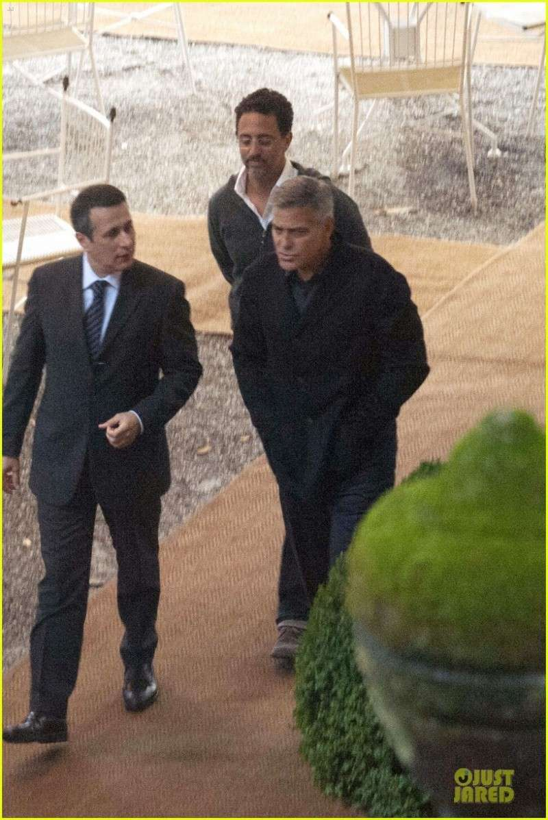 George Clooney and Grant Heslov at Villa D'Este yesterday in Como Ass310