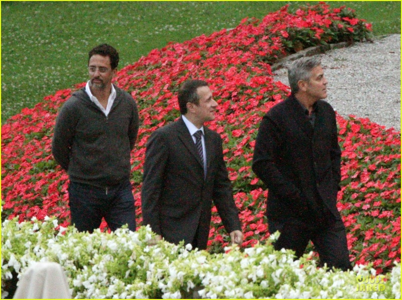 George Clooney and Grant Heslov at Villa D'Este yesterday in Como Ass410